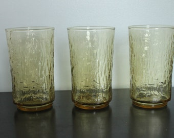 Set of 3 vintage Amber textured Glass cooler glasses, bamboo texture drinking glasses, yellow drinking glasses