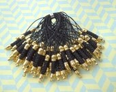 Cell Phone Strap Lanyard--20 pcs 70x5mm Black Lariat Lanyard Mobile Cell Phone Strap Chains Connectors With Gold  Metal Top