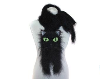 Knitted Scarf / Fuzzy black Soft Scarf / knit cat scarf / Black cat / animal scarf