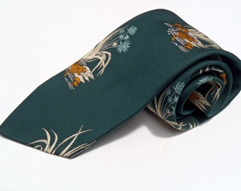 Vintage 1970s Wide Green Polyester Tie Embroidered Pond Pattern Beau Brummell