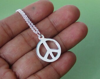 Polished Finish Peace, 925 Sterling Silver Peace Pendant On 925 Silver Necklace, Silver Peace Sign, Peace Symbol Peace Charm 16 18 20 22 24