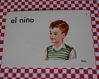 "Vintage 1962 ""Boy"" Picture & Word Flash Card, Choice of English (boy), French (le garcon), Spanish (el nino), Whitman Publishing, Racine, WI"