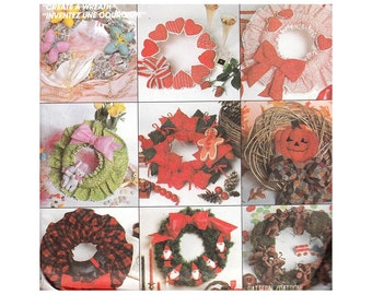 McCall's 2084 Create a Wreath, Shirred Wreath Thanksgiving, Christmas, Easter and Ornaments    Vintage 1980s Craft Sewing Pattern UNCUT