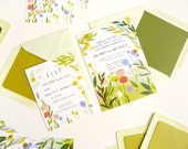 Mid-century inspired Garden Wedding - custom illustrated wedding invitation and rsvp