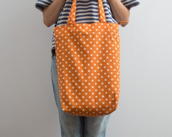 Geometric Print Bag Canvas Tote Bag Polka Dot Tote Bag Bright Orange Hipster Streetwear Funny Tote Kawaii Shoulder Bag Gift Ideas For Her