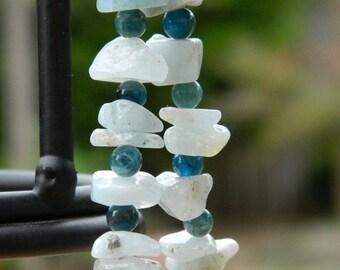 Kyanite and Aquamarine Gemstone Stretch Bracelet - Teal, Sky, Azure, Blue, Lagoon, Ocean