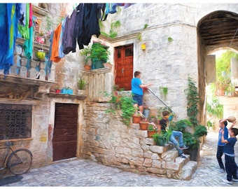 Old World Courtyard Art Print for Home or Office Decor; Europe, cobblestone streets, Old World Charm, travel