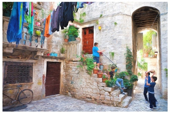 Old World Courtyard Art Print for Home or Office Decor