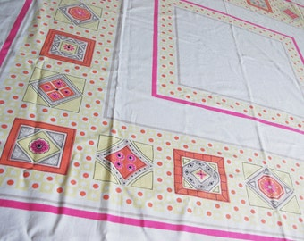 Vintage 1960s Mod Printed Tablecloth: Pink Yellow Black Orange Polka Dots and Geometric Shapes