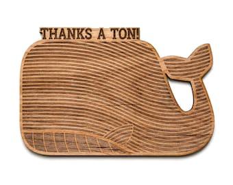 Whale Shape Wood Thank You Card