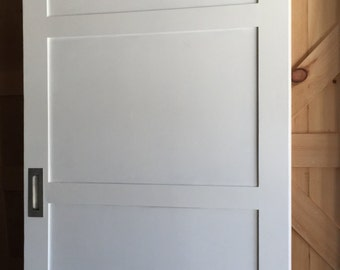 White Three Panel Sliding Barn Door