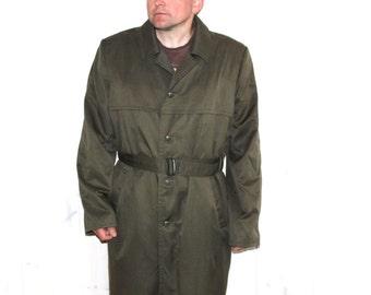 Soviet army dust coat Vintage mens trench coat UNUSED khaki green vintage trench coat Mens trench coat SIZE L