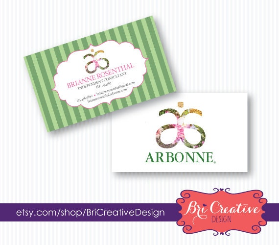 Green Lines Arbonne Business Card Design by BriCreativeDesign