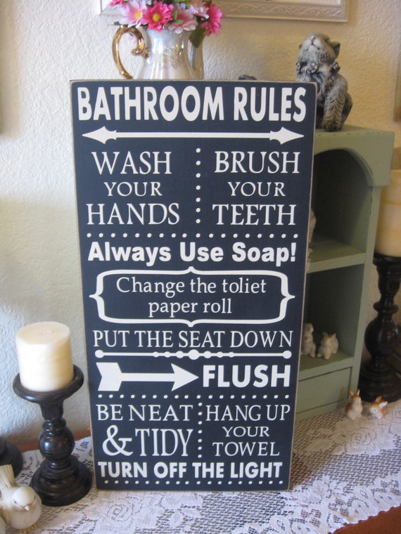Primitive wood sign bathroom rules by pattisctrywoodcraft for Bathroom decor rules