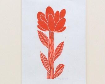 linocut - FLOWER - 5x7 / printmaking / block print / nature art / flower print / ochre, red-orange