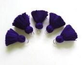 Exotic Purple Blue Mini Tassels Tiny Jewelry Making Tassels Blue Cotton Mini Tassels Purple Tiny Cotton Tassels 5 Pack Tassels   no61