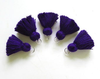 Exotic Purple Blue Mini Tassels Tiny Jewelry Making Tassels Blue Cotton Mini Tassels Purple Tiny Cotton Tassels 5 Pack Tassels   no61