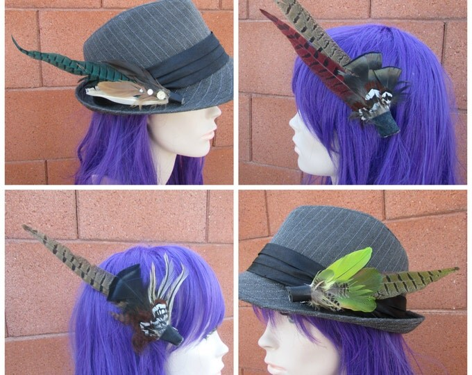 Feather Hair Clips, Hat Clips, Hair Decor, Hat Decor, Hair Fascinator, Burningman, Festival, Wedding Accessories, Feather Clips