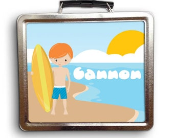 Backyard Sports Surfing Boy Lunch Box - Personalized Gift - Sports Tin Metal Lunch Box - Soft Insulated Lunch Box