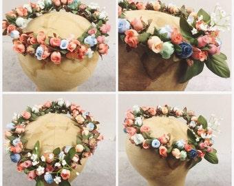Vintage gilt floral bridal crown wedding wreath