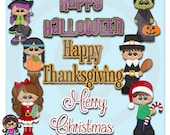 2015 Holiday Kids 3  Clip art  Clipart Graphics  Commercial Use
