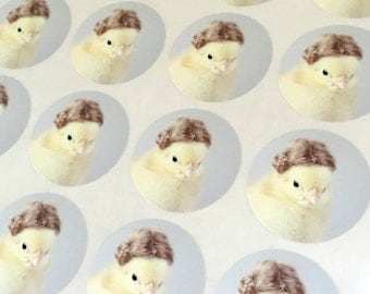"""Chicks in Hats Chick in A Miniature Wig Chicken Stickers 1.5"""" Round (12) Stationary Envelope Seals"""