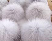 """Bulk of 6 Blue Fox Pom Poms - Genuine Fox Fur Pompom, Natural Fur Pom-pom, large 4"""" Blue grey fox pom pom, Key Chain Hat Brooch Accessories"""