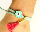 Mint Evil Eye Bracelet - Wrap Bracelet - Suede Leather Bracelet - Tassel Bracelet - Boho Bracelet - Hippie Bracelet