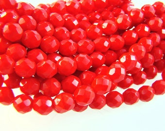 Czech Glass Faceted Opaque Cherry Red 8mm Round Preciosa Beads - 20