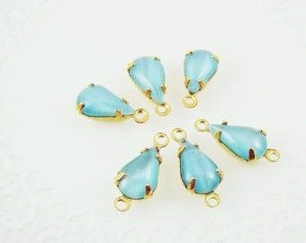 Vintage 10x6mm Aqua Moonstone Glass Teardrop Stones Jewels in Brass Settings - 6