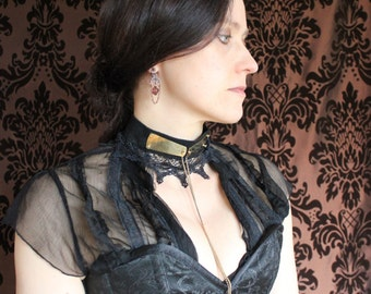 Steamgoth Black Lace and Suede Choker with etched brass pendant and locket. Steampunk Catwalk Collection