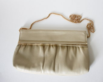 Vintage Ande Clutch Purse Beige Off White Tan Optional Chain
