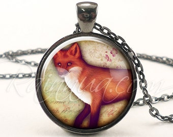 Cute Fox Necklace, Red Fox Vixen Jewelry, Woodland Nature Pendant (1953G1IN)