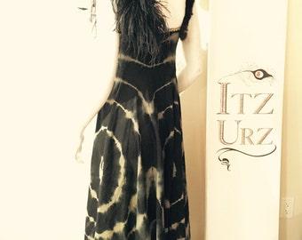 Black Tie-dye Summer Dress. Animal straps: fur and peacock