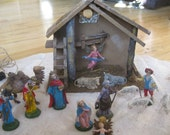 Vintage Nativity Set Made in Italy Very good 14 pieces holy family shepherd 3 kings animals