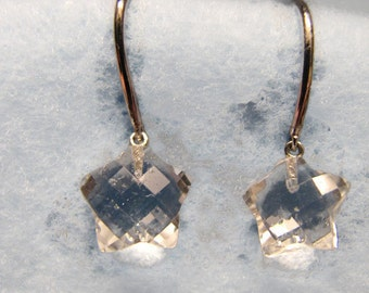 Vintage 14k WHITE GOLD Earrings with Rock Crystal Quartz STAR