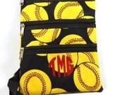 Monogramed Cross Body Messenger Bag/Yellow Softball Print/Free Personalization/Free Shipping