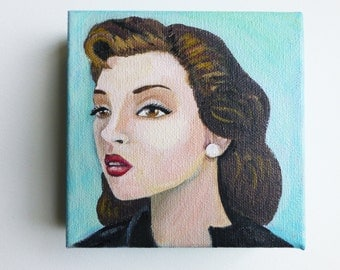 Rose, an original painting of a vintage woman.