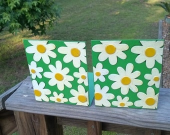 Fitz and Floyd Vintage Bookends White Daisy Floral Retro Bookends