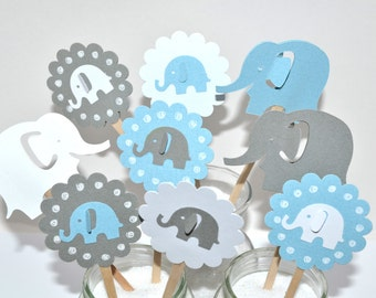 12 Elephant Cupcake Toppers/Elephant Baby Shower/Elephant Birthday Party/Elephant Cupcake Toppers / Boy Baby Shower / Elephant Party