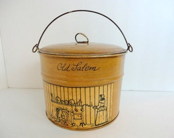 Vintage Round Lunch pail Tin Folk art Hand painted 1960s Old Salem Moravian Blessing