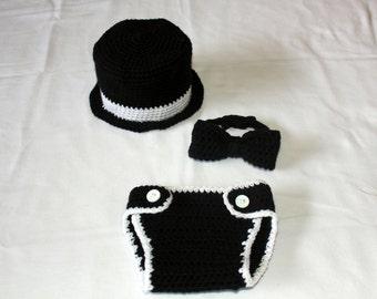 Crochet Baby Tuxedo Top Hat, Bow Tie and Diaper Cover Set - Newborn - Baby - Tiny Tux - Baby Tuxedo Set - Newborn Photo Prop - Picture Prop