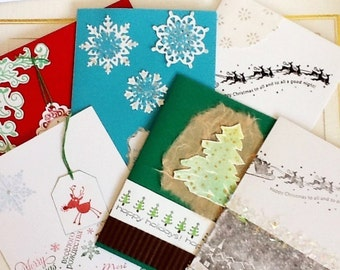 Christmas cards sale: Stampin Up, handmade Christmas Cards, Holiday Cards, set of 6, assortment of cards, value pack, hand stamped by Wcards