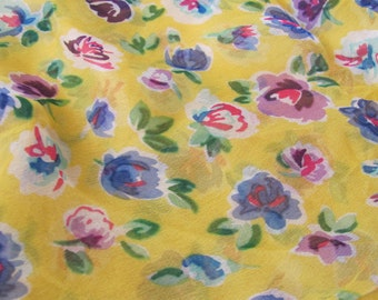 """Small Sheer Yellow Floral Soft Poly Scarf 20"""" Square - Affordable Scarves!!!"""