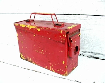 Vintage Red Utility Can Box  - Craft Hobby Storage - Industrial - Ammo