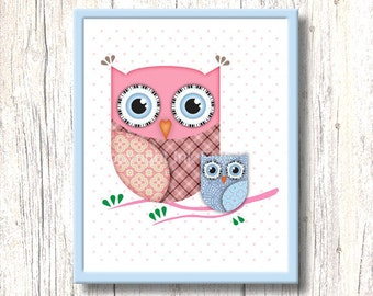 Printable Cute Pink Owl nursery art. Kids room wall art. Sweet cute character for wall decor. Bird image for children. 8x10 digital download