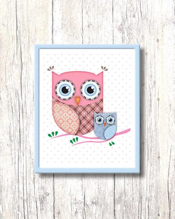 Girly owl nursery : Cute printable nursery art