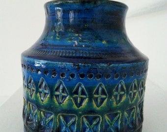 Midcentury Birossi ceramic vase by Aldo Londi BAY Italy 1950s - rimini blue