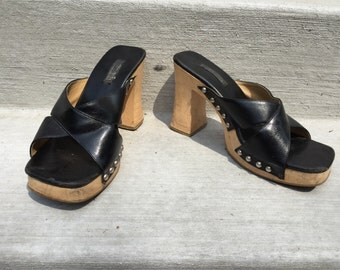 Black Studded Chunky Faux Leather Criss Cross Clog SlipOns Rocker Poolside 90s