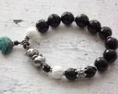 Panda bracelet artist pewter panda black and white bracelet onyx bracelet turquoise bear festish charm bracelet boho stretch bracelet